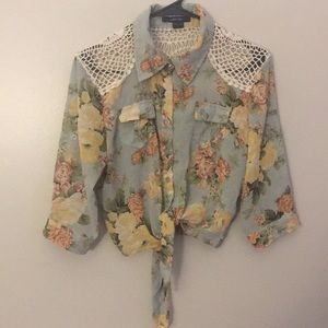 Floral button down tie up shirt